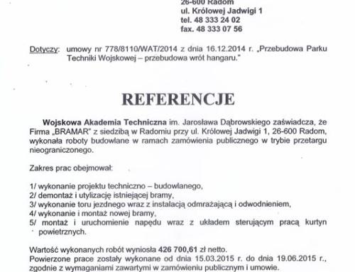 List referencyjny: Wojskowa Akademia Techniczna