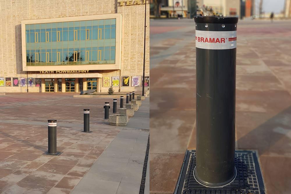 Słupki FADINI VIGILO zamontowane przez firme BRAMAR na Placu Jagiellońskim w Radomiu