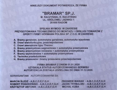 Certyfikat Autoryzowanego Serwisu Hörmann