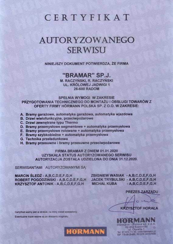 Certyfikat autoryzowanego serwisu firmy Hormann dla BRAMAR