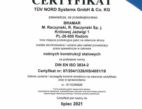 Certyfikat prac spawalniczych EN ISO 3834-2