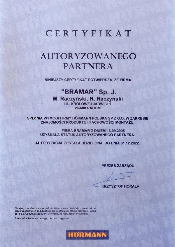 BRAMAR autoryzowany partner firmy Hormann