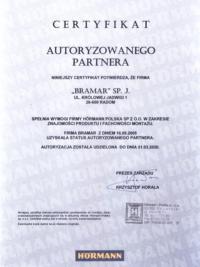 Certyfikat Autoryzowany Partner Hormann w Radomiu firma BRAMAR