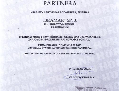 Certyfikat Autoryzowanego Partnera Hörmann