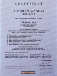 Certyfikat autoryzowanego serwisu Hormann dla firmy BRAMAR