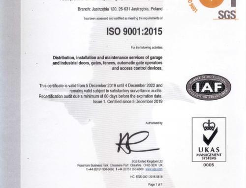 Certyfikat jakości ISO 9001:2014 ważny do 12.2022