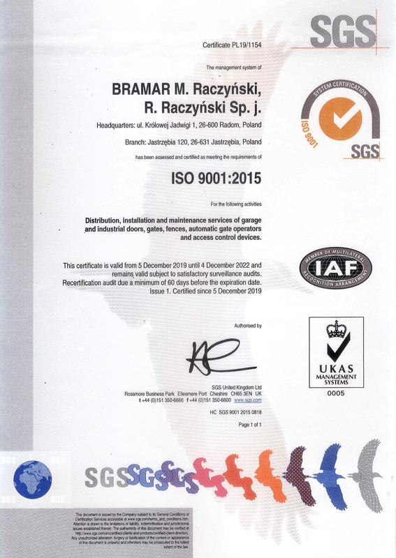 Certyfikat jakości ISO 9001:2015 dla firmy BRAMAR