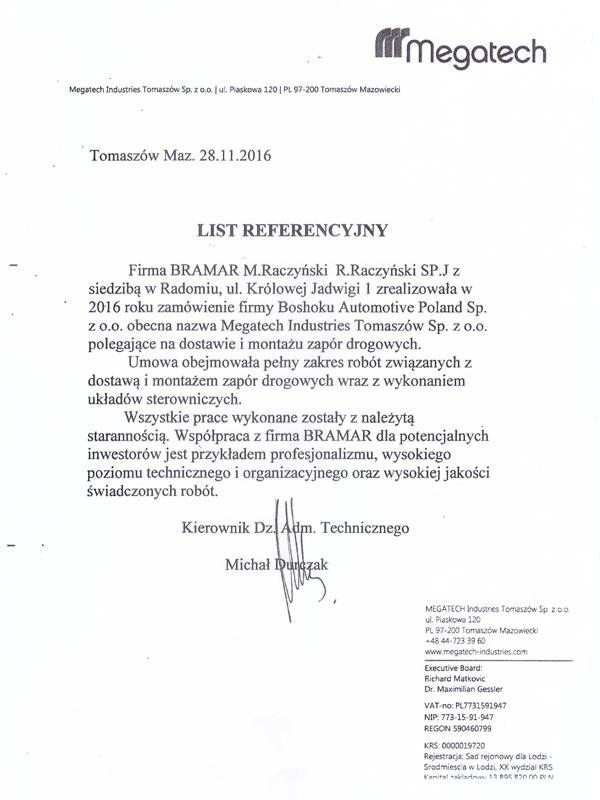 List referencyjny firmy Megatech Tomaszów Mazowiecki dla BRAMAR