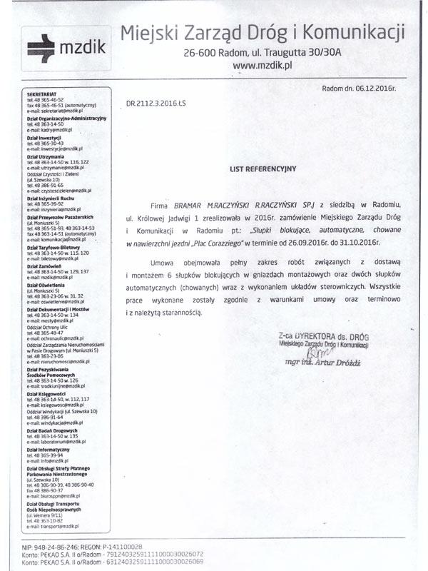List referencyjny dla firmy BRAMAR od MZDiK Radom, słupki stałe i hydrauliczne.