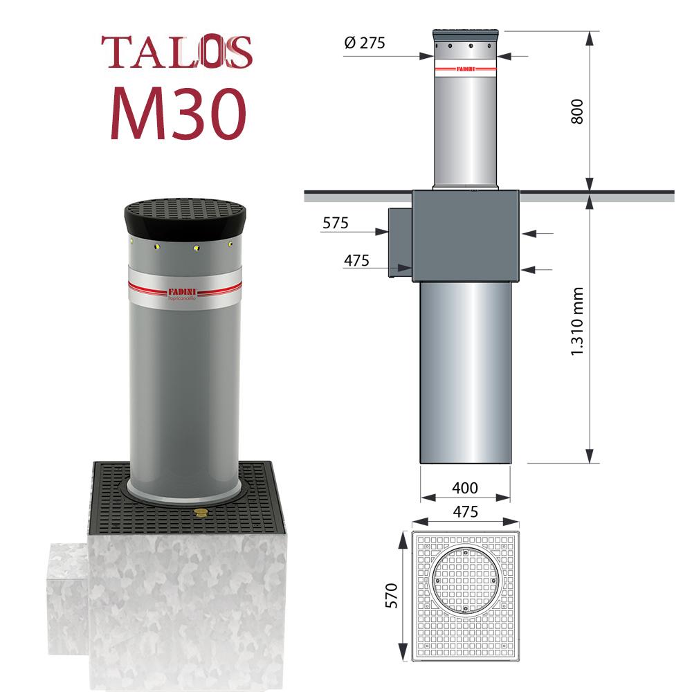 Certyfikowana automatyczna antyterrorystyczna zapora drogowa Talos M30 FADINI